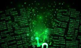 Abstract futuristic cyberspace hacked binary data, matrix background, broken falling binary code, big data neural network