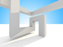 Abstract Futuristic 3d Architecture Background. 3d render illustration stock illustration