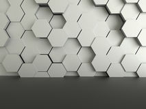 Abstract futuristic dark floor with hexagons concrete background. 3D rendering for display Stock Images