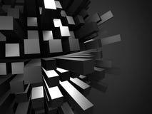 Abstract Futuristic Dark Shiny Sphere Blocks Background. 3d Render Illustration Stock Photography