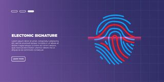 Abstract futuristic digital fingerprint scanner. concept of technology security. Fingerprint security, access control, authorization and identification vector vector illustration