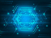 Abstract  futuristic digital innovation background with circuit board, hexagon, shiny effect and glitter. Stock Photos