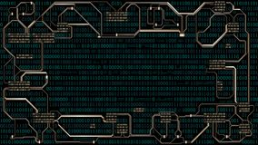Abstract futuristic electronic circuit board with binary code, computer digital technology background, frame, well organized layer Royalty Free Stock Photography