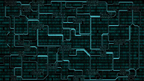 Abstract futuristic electronic circuit board with binary code, computer digital technology background, well organized layers. Abstract futuristic electronic Stock Illustration