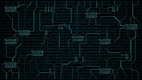 Abstract futuristic electronic circuit board with binary code, computer digital technology background, well organized layers. Abstract futuristic electronic vector illustration