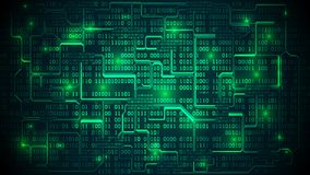 Abstract futuristic electronic circuit board with binary code, m Stock Image