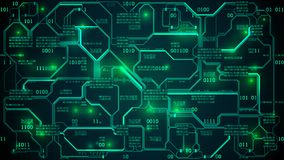 Abstract futuristic electronic circuit board with binary code, neural network and big data artificial intelligence, matrix. Abstract futuristic electronic vector illustration