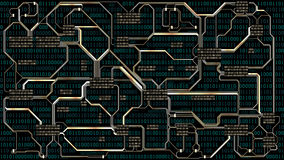 Abstract futuristic electronic circuit board with binary code, computer digital technology background, well organized layers. Abstract futuristic electronic royalty free illustration
