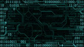 Abstract futuristic electronic circuit board with binary code, computer digital technology background, frame Stock Photography