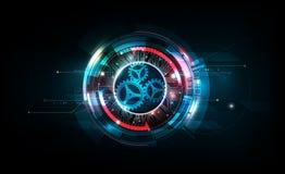 Abstract futuristic electronic circuit technology on dark background, vector illustration. Eps10 stock illustration