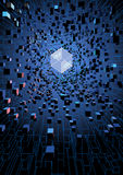 Abstract futuristic floating cubes on digital technology concept Royalty Free Stock Images