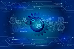 Abstract futuristic gears wheel and circuit elements on the blue stock illustration