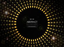Abstract of futuristic geometric yellow sun burst on black background with flare royalty free illustration