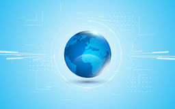 Abstract futuristic global network digital technology blue globe design innovation concept background. Eps 10 vector Stock Photography