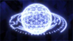 Abstract Futuristic Globe HUD Element Digital Grid Sphere Rotating - 4K Seamless Loop Motion Background Animation
