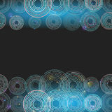 Abstract futuristic glowing circles on dark blue background. squ. Are banner for text. Vector illustration Royalty Free Stock Images