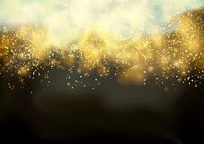 Abstract futuristic golden glittering festive background template. Bokeh Shine light Elegant Glow. Bright Fog and sparkle Dust. Festive Beautiful Fireworks Royalty Free Stock Image
