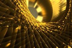 Abstract Futuristic golden Twist Geometric background, 3d illustration. Golden Abstract Geometric Tunnel Light Reflection royalty free illustration