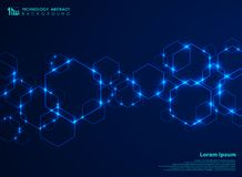 Abstract futuristic hexagon shape pattern connection in gradient blue technology background royalty free illustration
