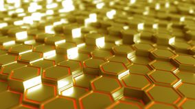 Abstract futuristic hexagonal golden background, 3D rendering. Abstract golden hexagonal background 3D Royalty Free Illustration