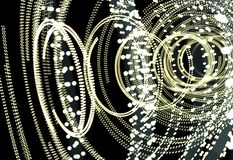 Abstract futuristic HUD object consist of glowing circles stock image