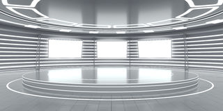 Abstract futuristic interior with glowing panels. 3D Rendering Royalty Free Stock Photography