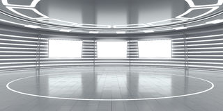 Abstract futuristic interior with glowing panels Stock Images