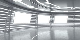 Abstract futuristic interior with glowing panels Stock Photography