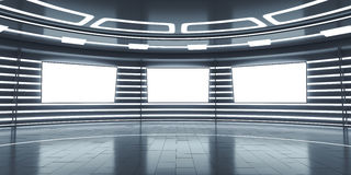 Abstract futuristic interior with glowing panels Stock Image