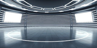 Abstract futuristic interior with glowing panels. 3D Rendering Royalty Free Stock Photos