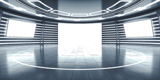 Abstract futuristic interior with glowing panels Royalty Free Stock Image