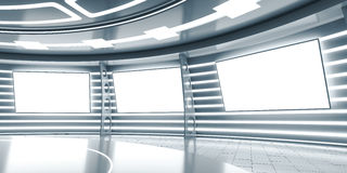 Abstract futuristic interior with glowing panels Stock Photos