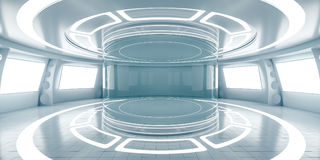 Abstract futuristic interior with glowing panels. 3D Rendering royalty free illustration