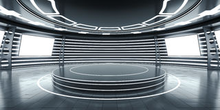 Abstract futuristic interior with glowing panels. Abstract futuristic interior with a podium in the middle and glowing panels. 3D Rendering royalty free illustration