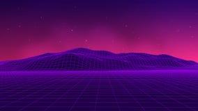 Abstract futuristic landscape 1980s style. Vector illustration 80s party background . 80s Retro Sci-Fi background. Abstract futuristic landscape 1980s style Stock Photo