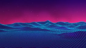 Abstract futuristic landscape 1980s style. Vector illustration 80s party background . Retro Sci-Fi background. Abstract futuristic landscape 1980s style. Vector royalty free illustration