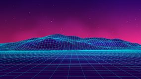 Abstract futuristic landscape 1980s style. Vector illustration 80s party background . 80s Retro Sci-Fi background. Abstract futuristic landscape 1980s style Royalty Free Stock Photography