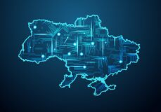 Free Abstract Futuristic Map Of Ukraine. Circuit Board Design Electric Of The Region. Technology Background. Mash Line And Point Scales Stock Images - 217263354