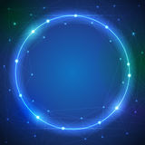 Abstract futuristic - Molecules and blue color circle ray light Stock Photos