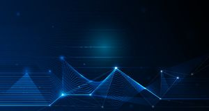 Abstract futuristic - Molecules technology with linear and polygonal pattern shapes with mesh lines and bright glitter. On dark blue background. Illustration stock illustration
