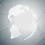 Abstract futuristic network shapes. High tech background, connecting lines and dots, polygonal linear texture. World. Globe on gray. Global network connections Royalty Free Stock Photo