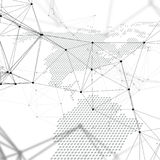 Abstract futuristic network shapes. High tech background, connecting lines and dots, polygonal linear texture. World map. Abstract futuristic network shapes Royalty Free Stock Photography
