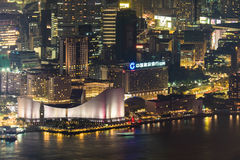 Abstract futuristic night cityscape. Hong Kong aerial view Stock Images