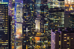 Abstract futuristic night cityscape. Hong Kong Royalty Free Stock Photography