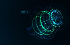Abstract futuristic object . HUD elemet . 3D hologram display consist of glowing particles and blurred cirles . Nanotechnology machine . Vector science and Stock Images