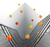 Abstract futuristic object reminiscent of modern building with glowing balls Stock Photography