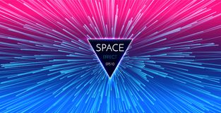 Abstract Futuristic Perspective and Motion Light Background. Star Warp in Hyperspace. Space Jump. Vector illustration Royalty Free Stock Photos