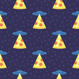 Abstract futuristic print with flying saucers, rays of light with pizza. Stock Photos