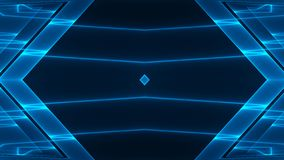 Abstract futuristic sci-fi background with blue colored glowing geometric design royalty free illustration