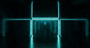 Abstract Futuristic Sci Fi Concrete Room With Blue Glowing Neon. Lights And Reflections  Space For Text 3d Rendering  Illustration Stock Photo